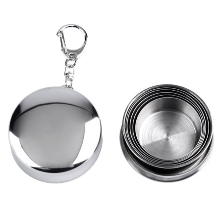 Stainless Steel Mini Travel Retractable Cup Keychain Telescopic Camping - image 1 of 10