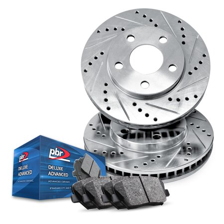 Front PBR AXXIS Silver Drill/Slot Brake Rotors + Deluxe Advanced Ceramic (Pbr Front Left Brake)