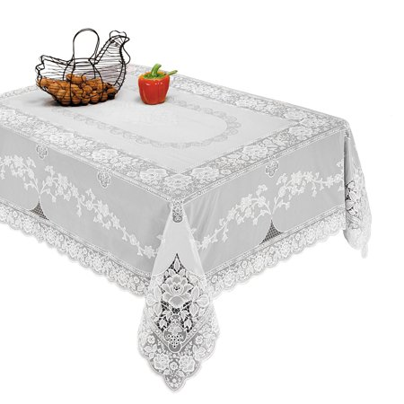 Luxurious Vinyl Lace Embossed Floral Design Tablecloths