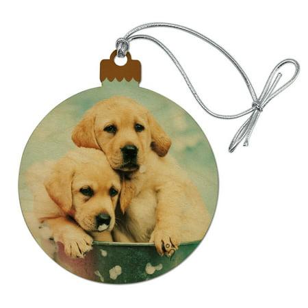 Labrador Retriever Puppies Dogs Bath Bubbles Bucket Wood Christmas Tree Holiday Ornament