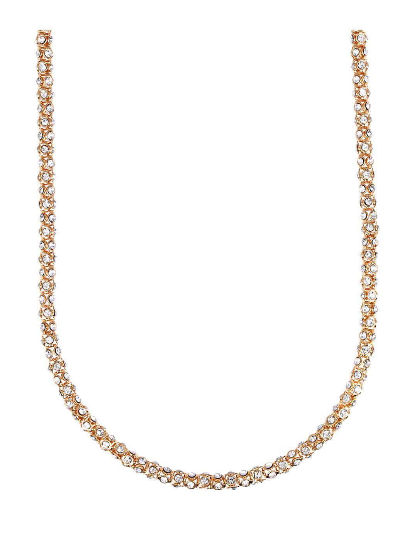 Goldtone Crystallized Tubular Necklace