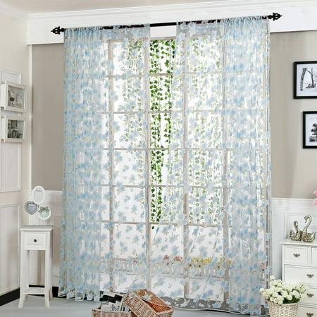 Flower Sheer Curtain Tulle Window Treatment Voile Drape Valance 1 Panel (Flower Fabric Valance Curtain)