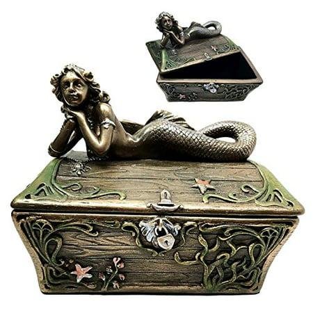 Beautiful Mermaid Resting On Sunken Treasure Chest Trinket Jewelry Box Figurine