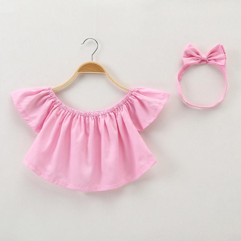 Toddler Baby Girls Solid Off Shoulder Ruffles Boho Blouse Top+Cute Headbands Set 2Pcs