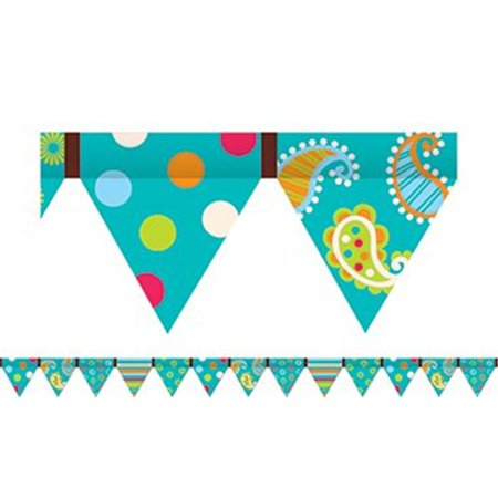 Turquoise Dot - Dots On Turquoise Pennant Border