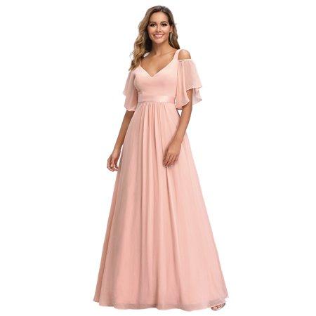 Ever-Pretty Women Full Length V-neck Bridesmaid Dresses for Women 07871 Pink US4 Modest Bridal Dresses