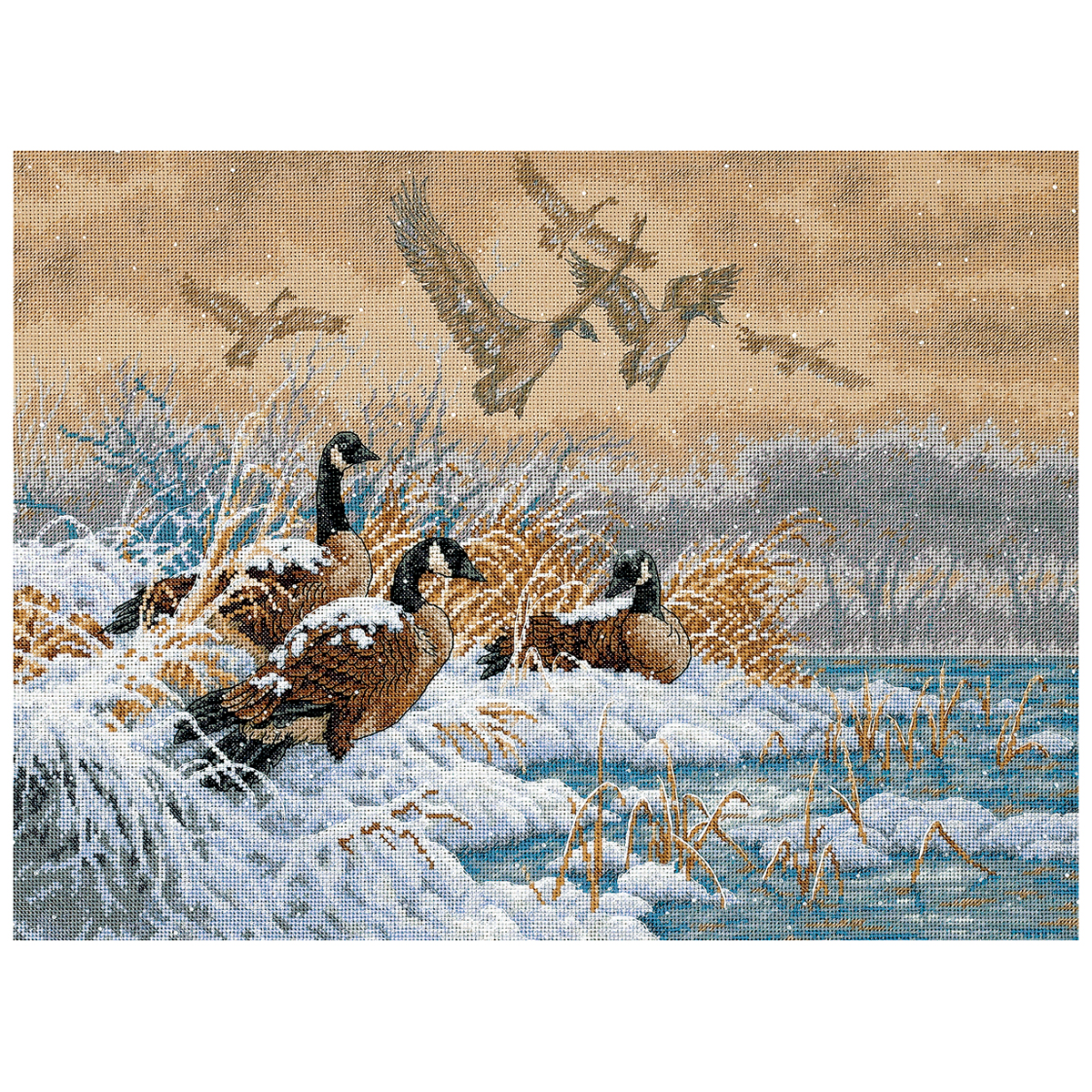 """Dimensions Gold Collection """"Winter Retreat"""" Counted Cross Stitch Kit, 16"""" x 12"""""""