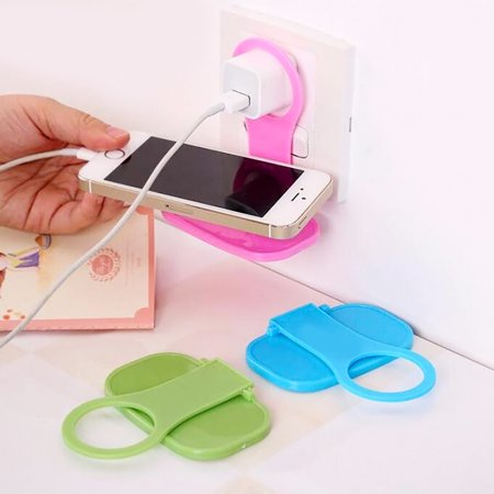 - 2Pcs Foldable Cell Phone Wall Charger Hanger Cradle Universal