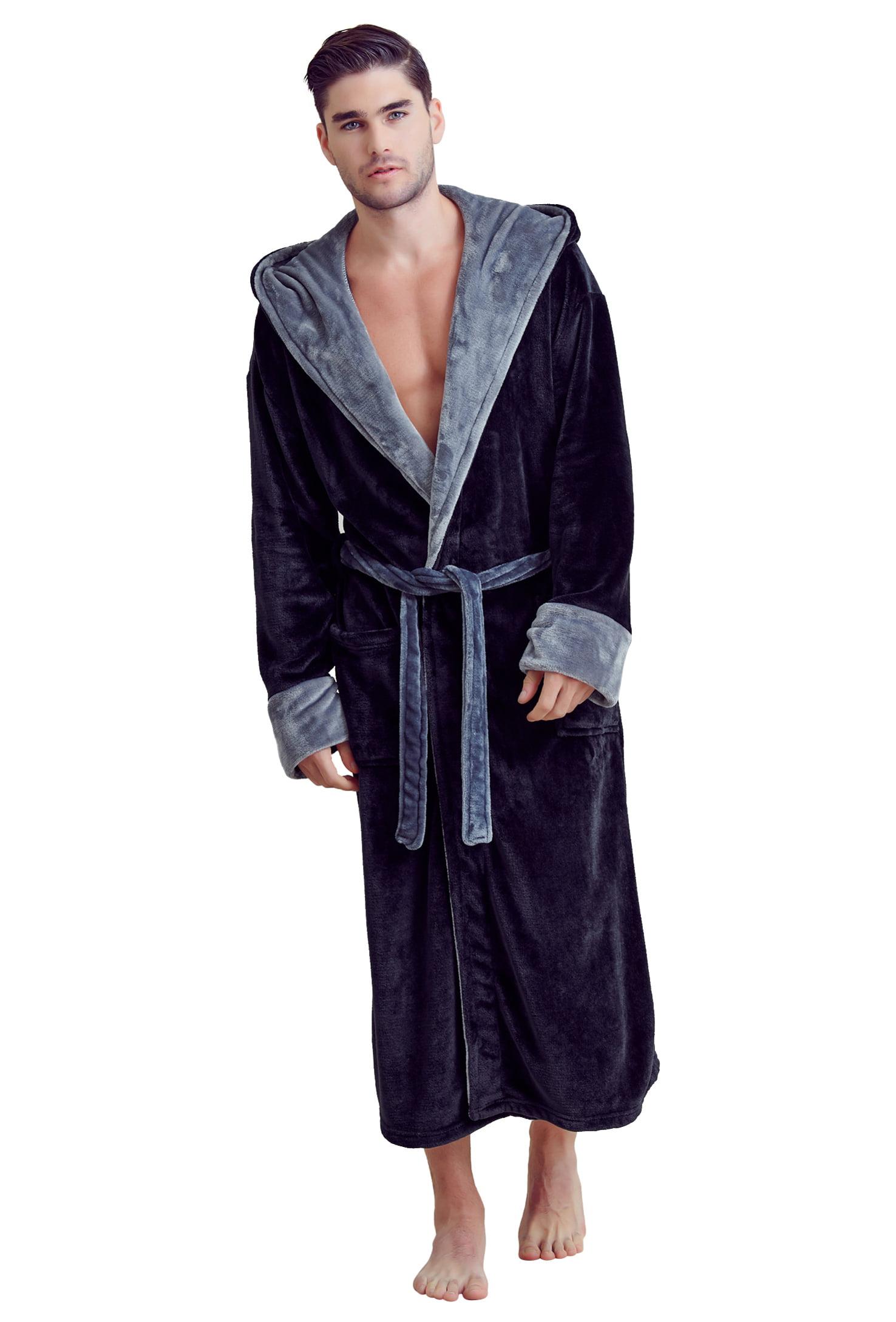 Towelnrobe Soft Touch Linen Men S Bath Robe Hooded Shower Robe Polyester Full Length Warm Kimono Walmart Com Walmart Com