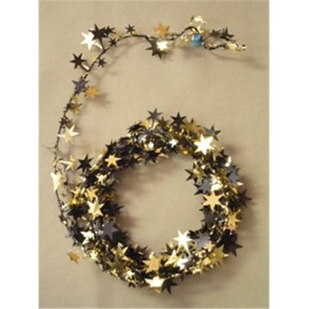 Party Deco 04529 12 ft. Black and Gold Stars Wire Garland - Pack of 12