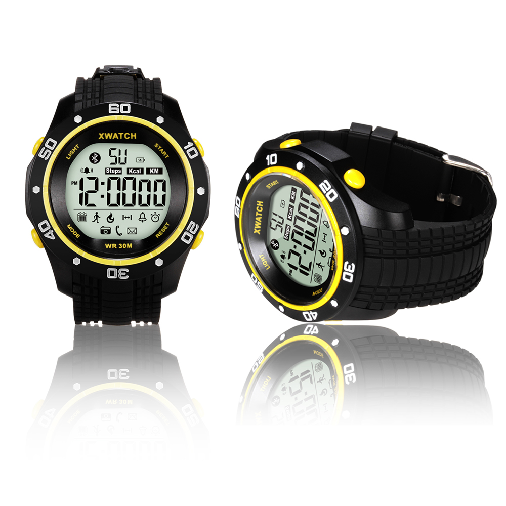 Indigi® Extreme Sports Bluetooth 4.0 Waterproof X-Watch w/ Pedometer + Smart Alarm + Call/SMS Notifier + 1 Year Battery