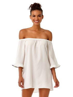 08dce408adf4f Product Image Studio Anne Cole Women s Denim Days Off The Shoulder Flounce  Tunic Swim Cover Up