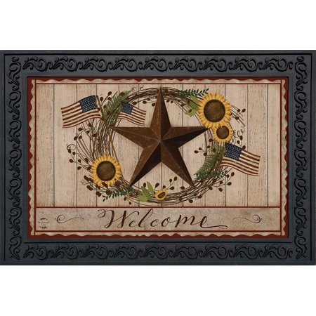 Autumn Welcome Barnstar Doormat Primitive Fall Indoor Outdoor 18