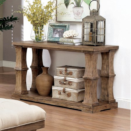Furniture of America Temecula Shabby Chic Natural Tone Distressed Sofa Table by FOA ()