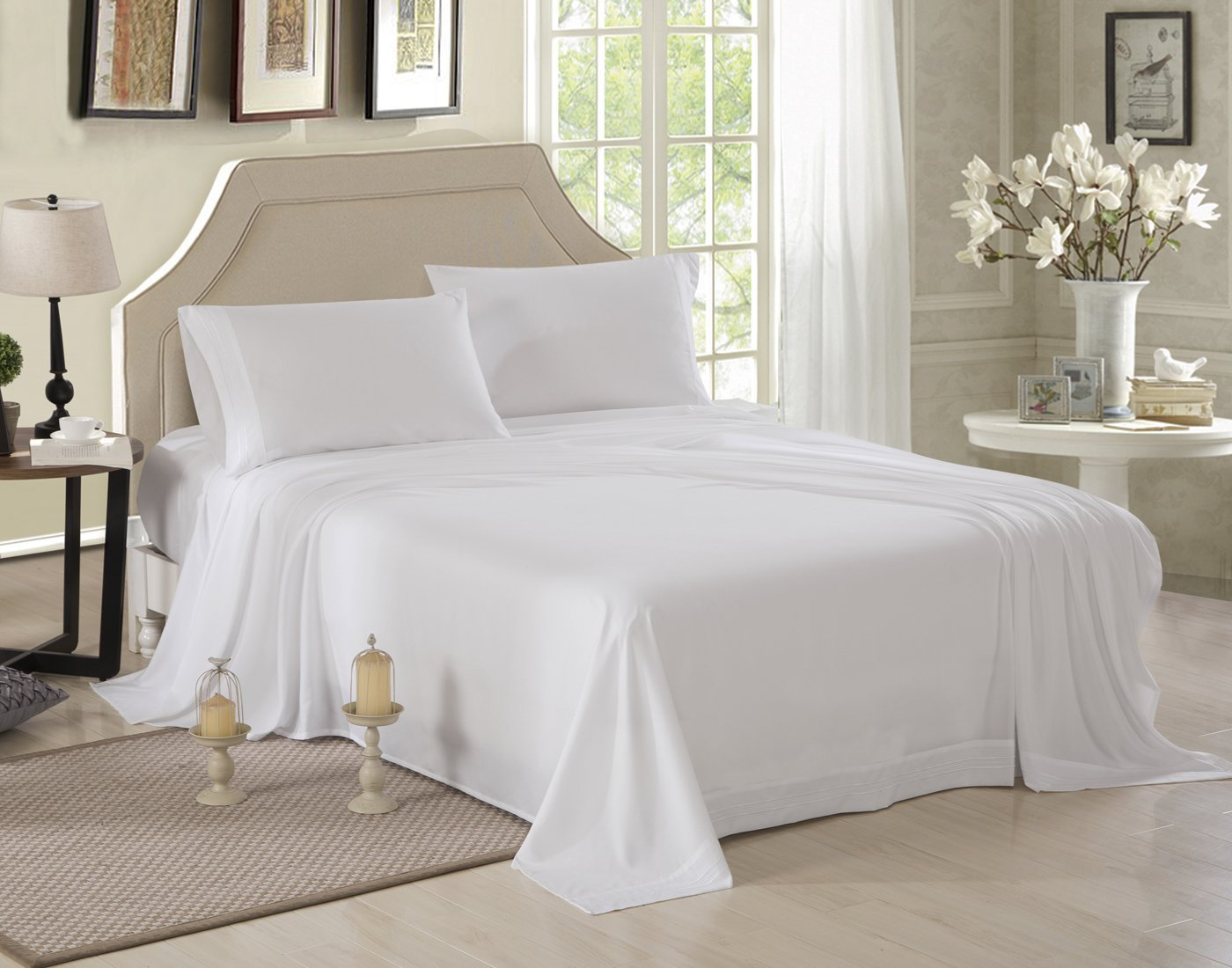 Honeymoon 1800 Brushed Microfiber Embroidered Bed Sheet Set, Ultra Soft,  Full   White   Walmart.com