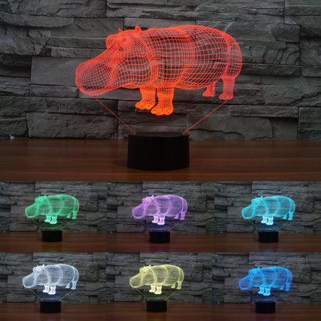 Deal of the Day - Moaere Hippo 3D Illusion LED Night Light Lamp 7 Colors Gradual Changing Touch Switch USB Table Lamp Valentine's Day gift for Lover or Kids Deal of the day