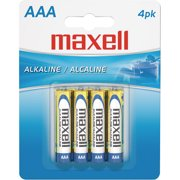 Maxell 723865 AAA Alkaline Batteries, 4-Pack, Carded