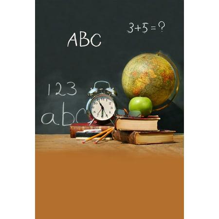 GreenDecor Polyster 5x7ft Photography Background School theme Classroom Tools Students Pencil Alarm Clock Tellurion Books Green Apple Chalkletter Blackboard Scene Photo Video Studio Props Backdrop (Apple Theme Classroom)