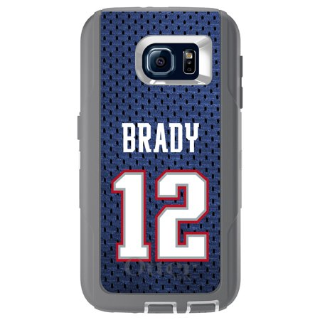 Distinctink  Custom Grey Otterbox Defender Series Case For Samsung Galaxy S6   Brady 12 Jersey