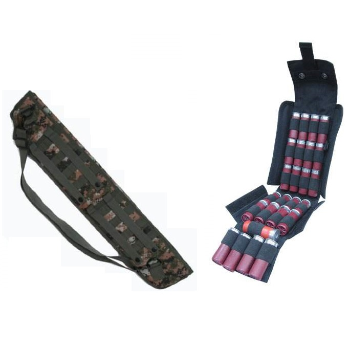 "Ultimate Arms Gear Tactical 29"" Marpat Woodland Digital Camo Molle Scabbard Winchester 1200 / 1300 / Super X SXP X3 12 Gauge Shotgun + Black Molle 25 Shot Shell Ammo Carrier Pouch"