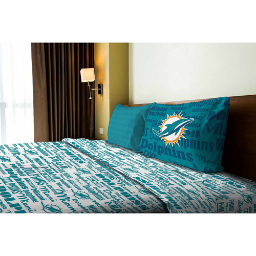 NFL Anthem Bedding Sheet Set, Dolphins