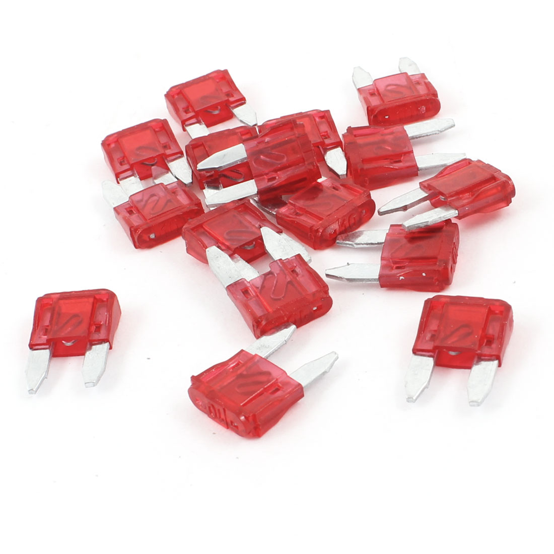 16 Pcs 10A Small Size Blade Fuses Red for Vehicle Car Auto Stereo