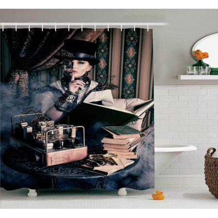 Gothic Decor Portrait Of Steampunk Woman With Medieval Vintage Style Outfit Historic Fashion Art Photo, Bathroom Accessories, 69W X 84L Inches Extra Long, By Ambesonne - Gothic Outfit
