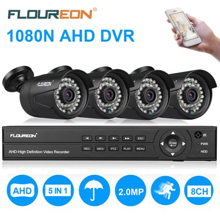 FLOUREON 8CH Security Surveillance DVR System 1080P + 4 Pack 1080P HD CCTV Camera Night Vision Remote Access Motion Detection (8CH 1080N AHD 3000TVL- No (Best Jd Surveillance Systems)