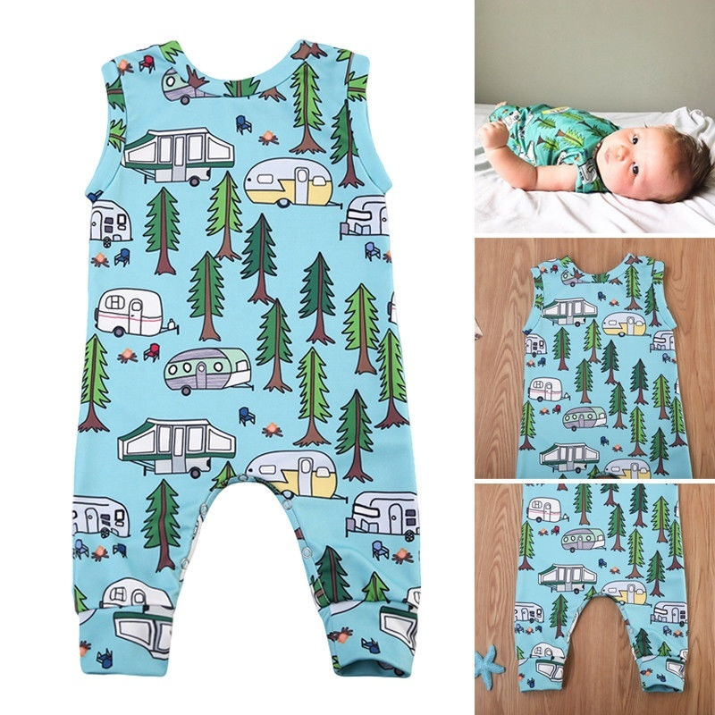 Fox in Cactus Forest Newborn Baby Boy Girl Romper Jumpsuit Long Sleeve Bodysuit Overalls Outfits Clothes