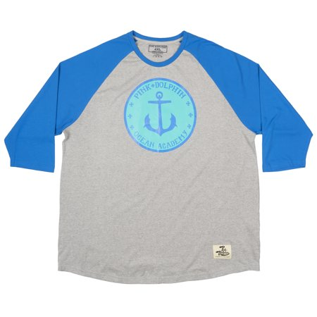 Pink Dolphin Ocean Academy Plus Size Raglan T-Shirt Skatewear Tee Mens Grey 4XL - Plus Size Men