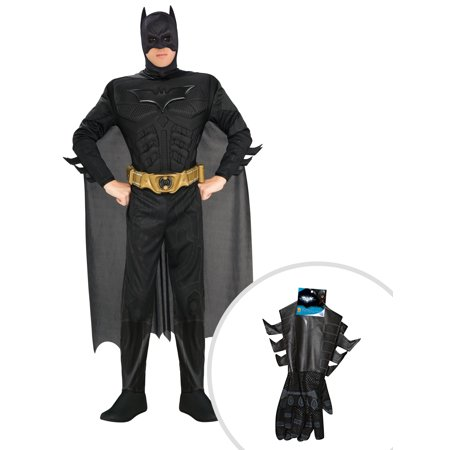 Men's The Dark Knight Deluxe Muscle Chest Batman Costume and Adult Batman Gauntlets - Knight Gauntlets