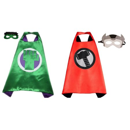 Hulk & Thor Costumes - 2 Capes, 2 Masks with Gift Box by Superheroes