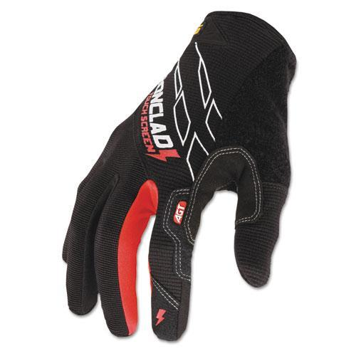 Ironclad Touchscreen Gloves, Black/Red, Large -IRNTSG04L