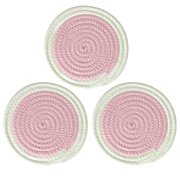 3pcs Round Cotton Coaster Cup Mats Holder Heat-resistant Mat Placemats, 7 Inch Diameter Non-slip Table Protector Pink