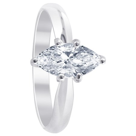 Gem Avenue 925 Sterling Silver Marquise Shape 1 CT Cubic Zirconia Ring