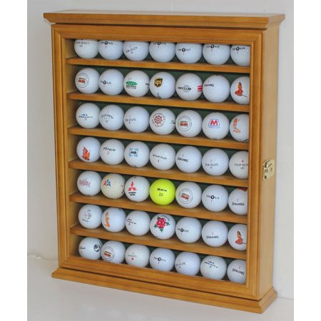Golf Ball Display Case Cabinet Holder Rack Stand, Solid Wood (Oak Display Rack)