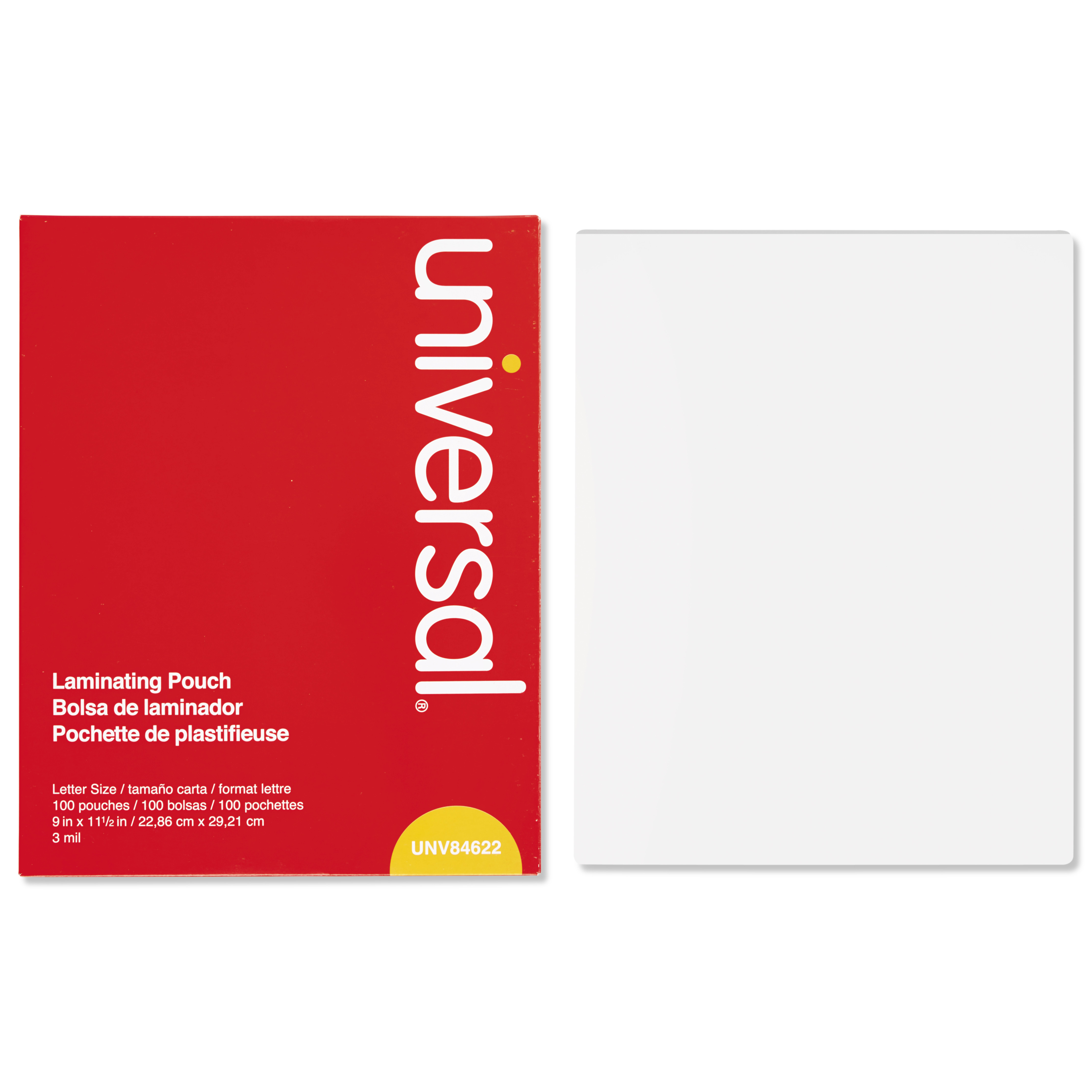 Universal Clear Laminating Pouches, 3 mil, 9 x 11 1/2, 100/Box -UNV84622