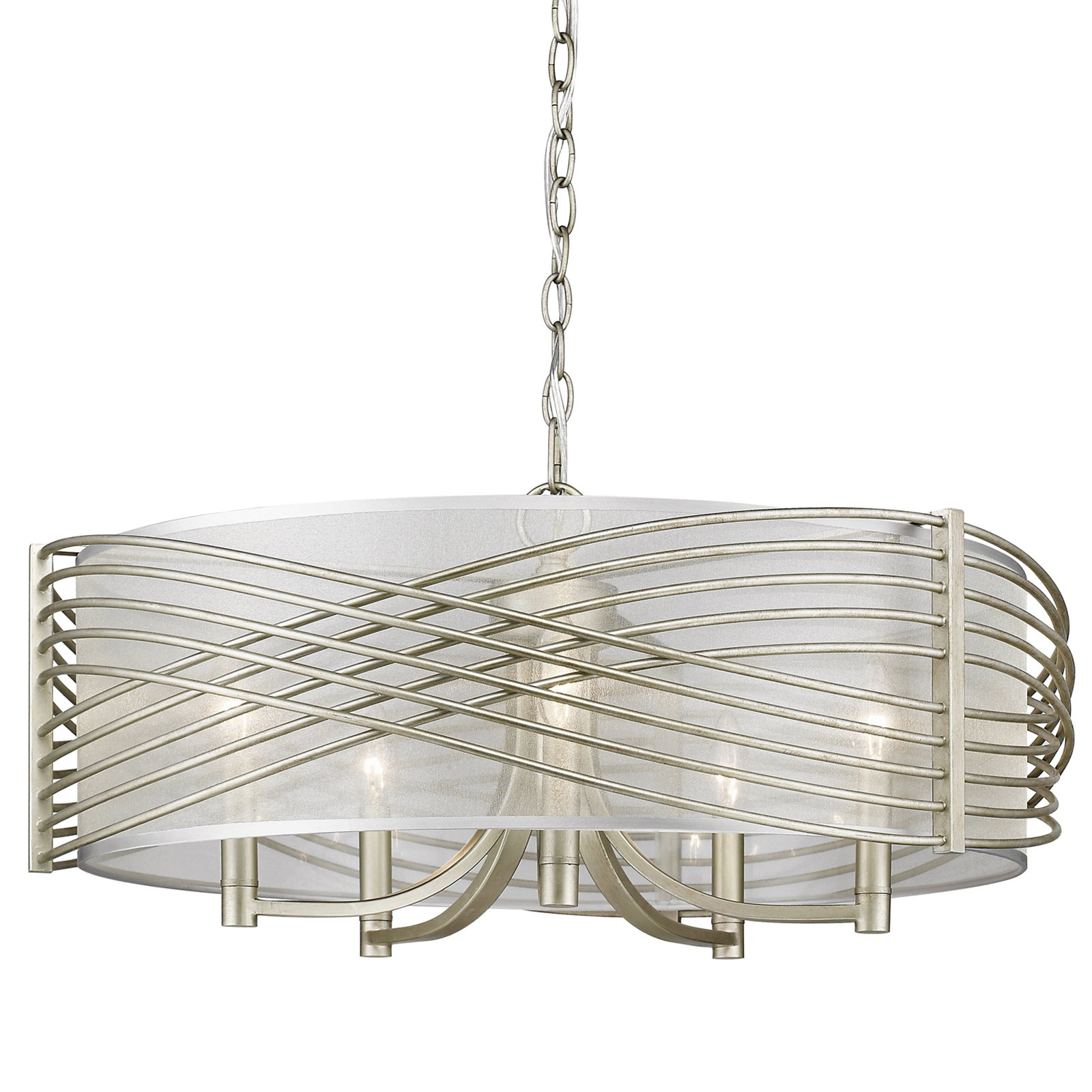 Golden Lighting 5516-5-SHR Zara 5 Light Drum Chandelier with Sheer Fabric Shade