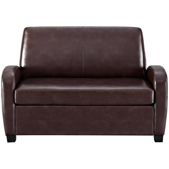 Remarkable Mainstays 54 Faux Leather Loveseat Sleeper Brown Andrewgaddart Wooden Chair Designs For Living Room Andrewgaddartcom