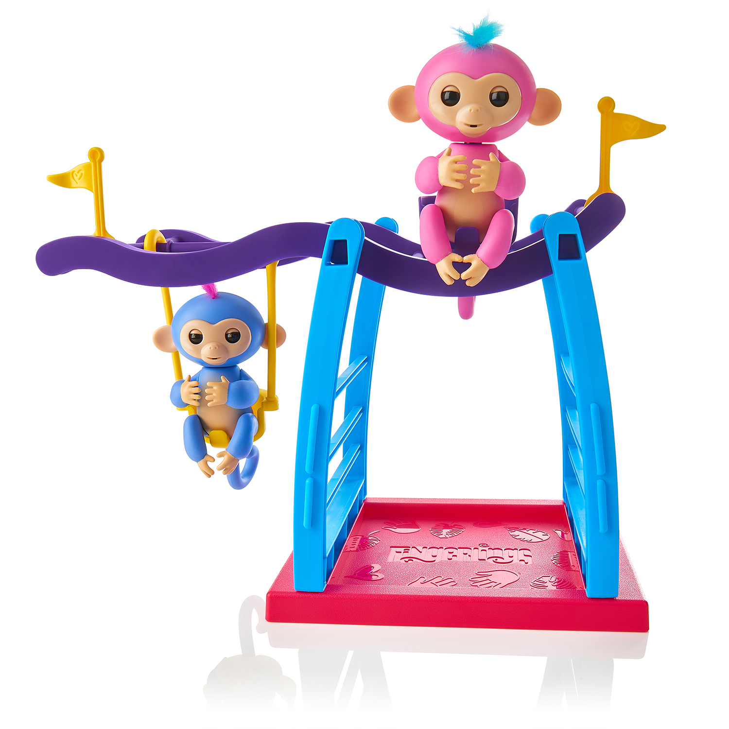 Fingerlings Play Set - Monkey Bar/Swing + 2 Monkeys (Liv & Simona) By WowWee