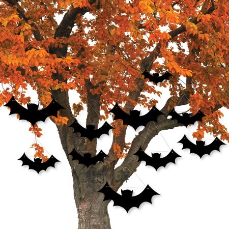 Black Bats Hanging - Outdoor Halloween Hanging Porch & Tree Yard Decorations - 10 Pieces