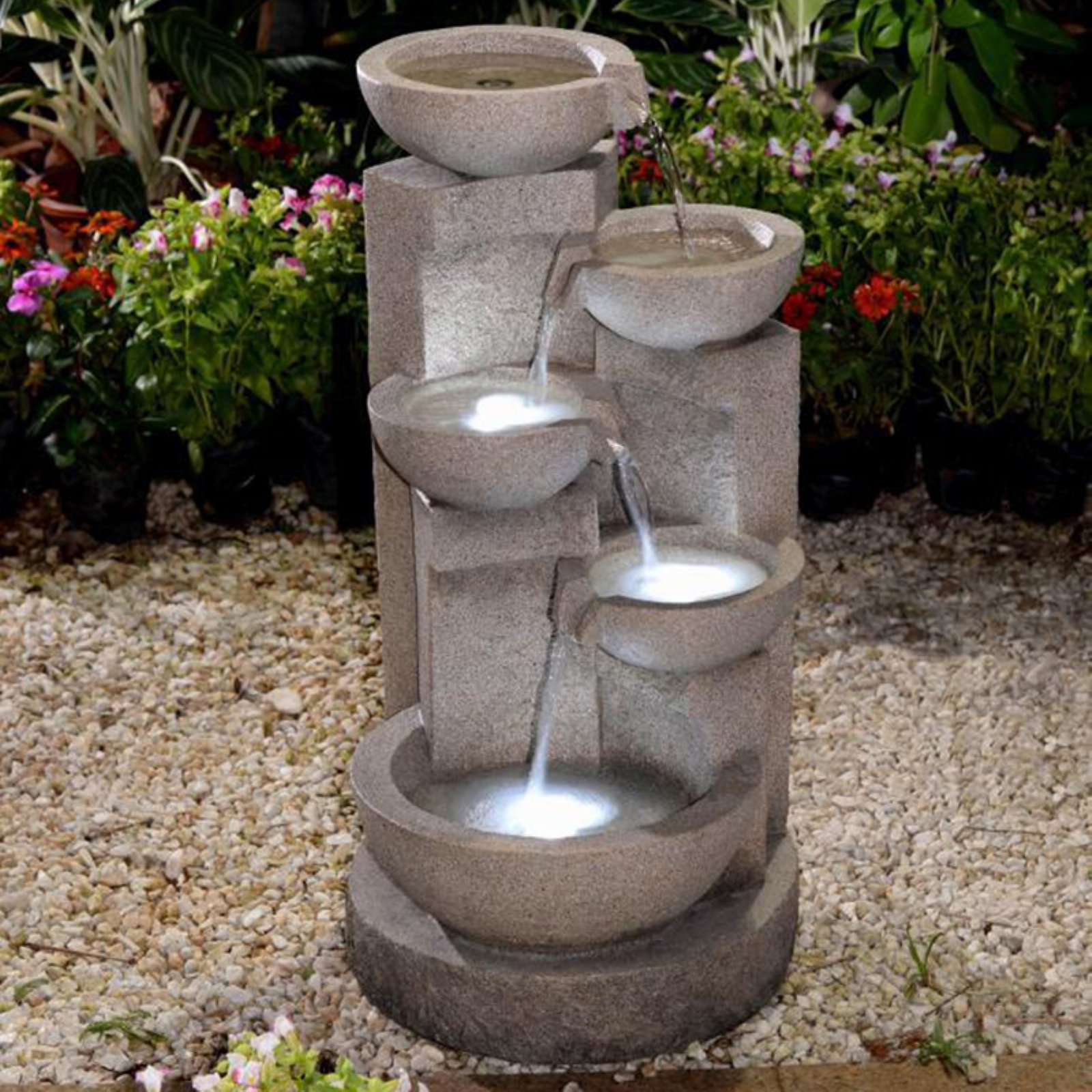 Jeco Multi-Tier Zen Bowls Indoor Outdoor Fountain with LED Light by Jeco Inc