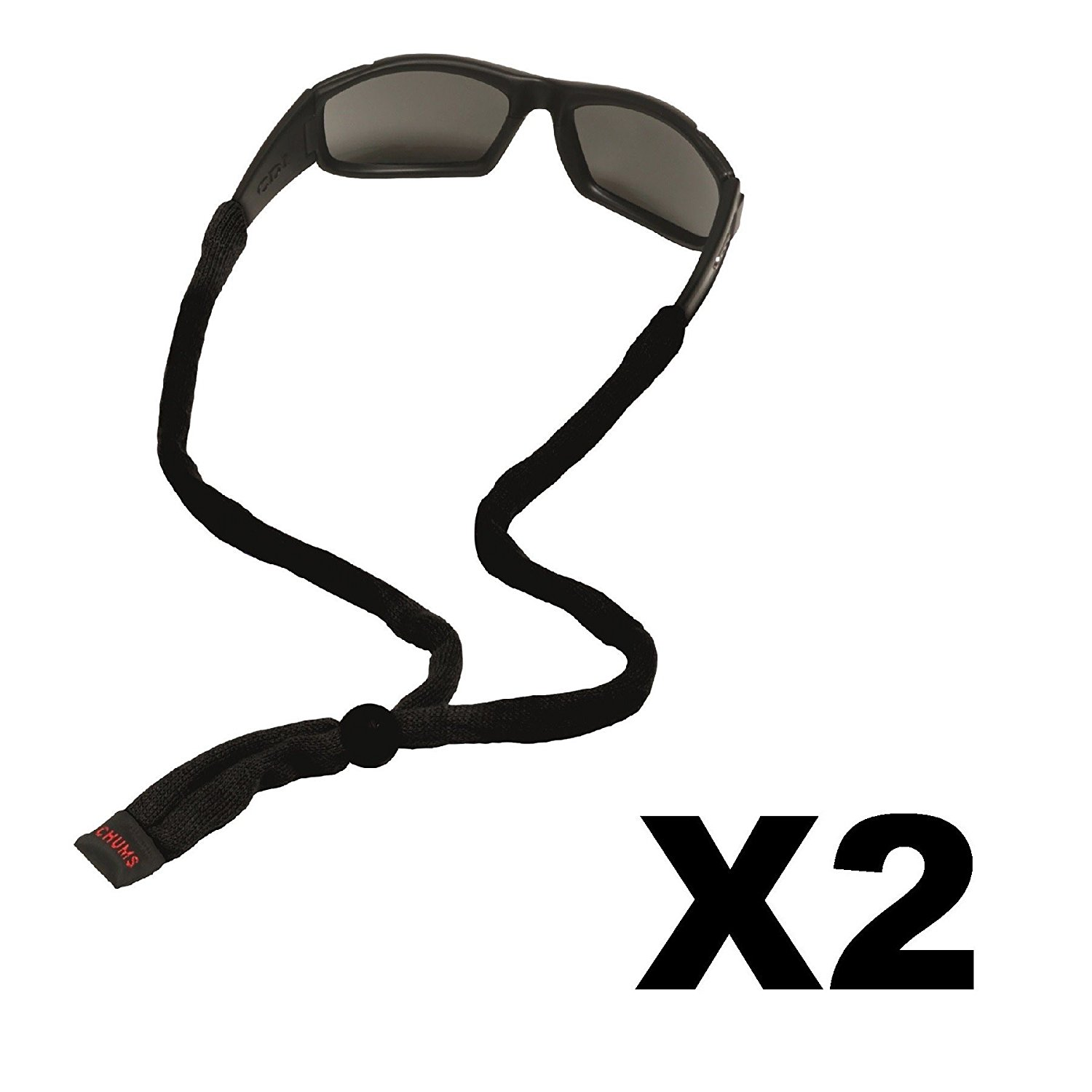 Chums Cotton Eyeglass and Sunglass Retainer 2 Pack Strap Black