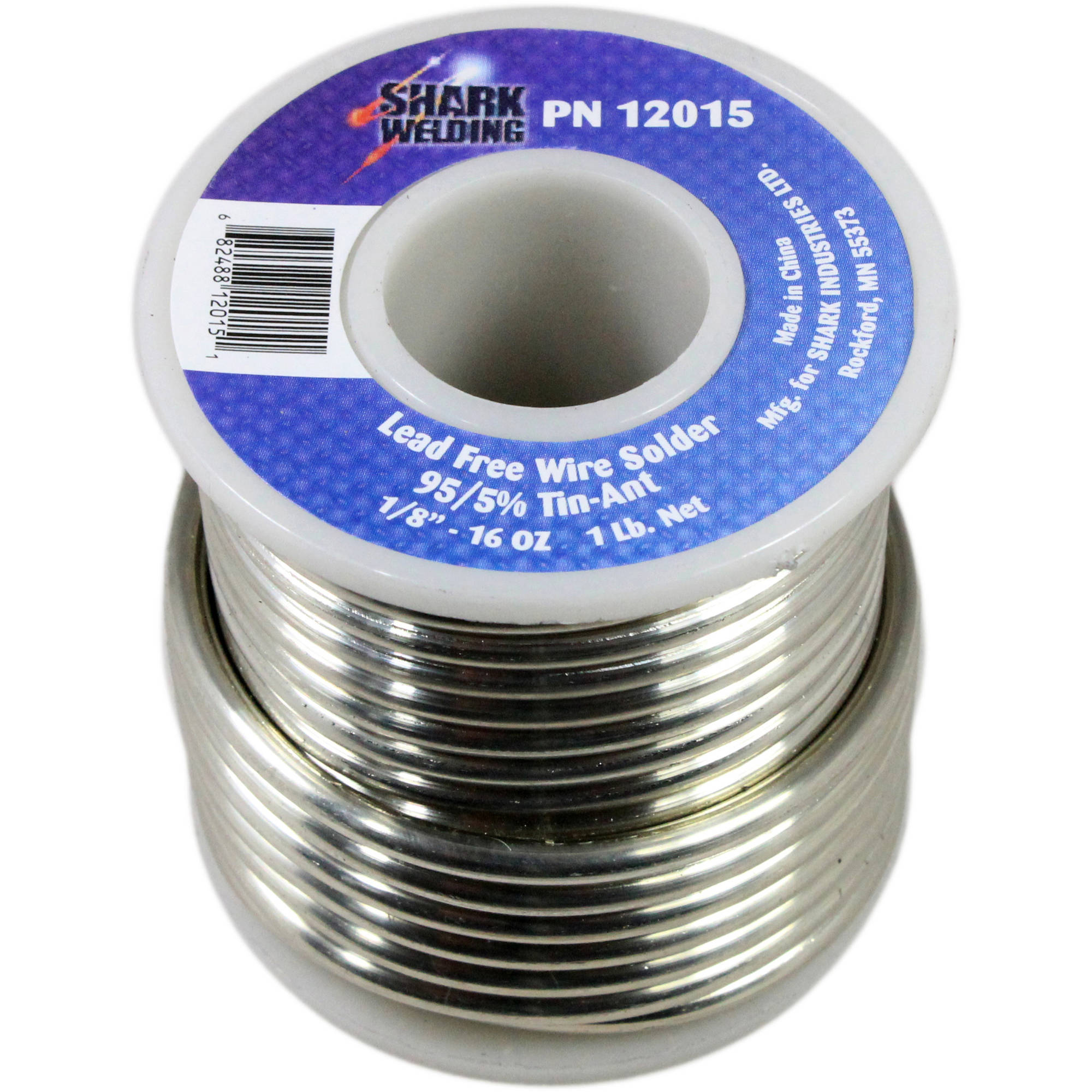 "Shark  0.125"" Lead-Free Wire Solder, 95/5 Percent, 1 lb"