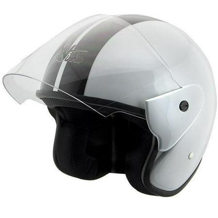 Hawk Helmets Nikko N318 White/Black Open Face Helmet White X-Small (White Open Face Helmet)