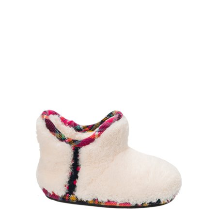 DF by Dearfoams Girls' Pile Bootie with Trim Slippers - Polar Slippers