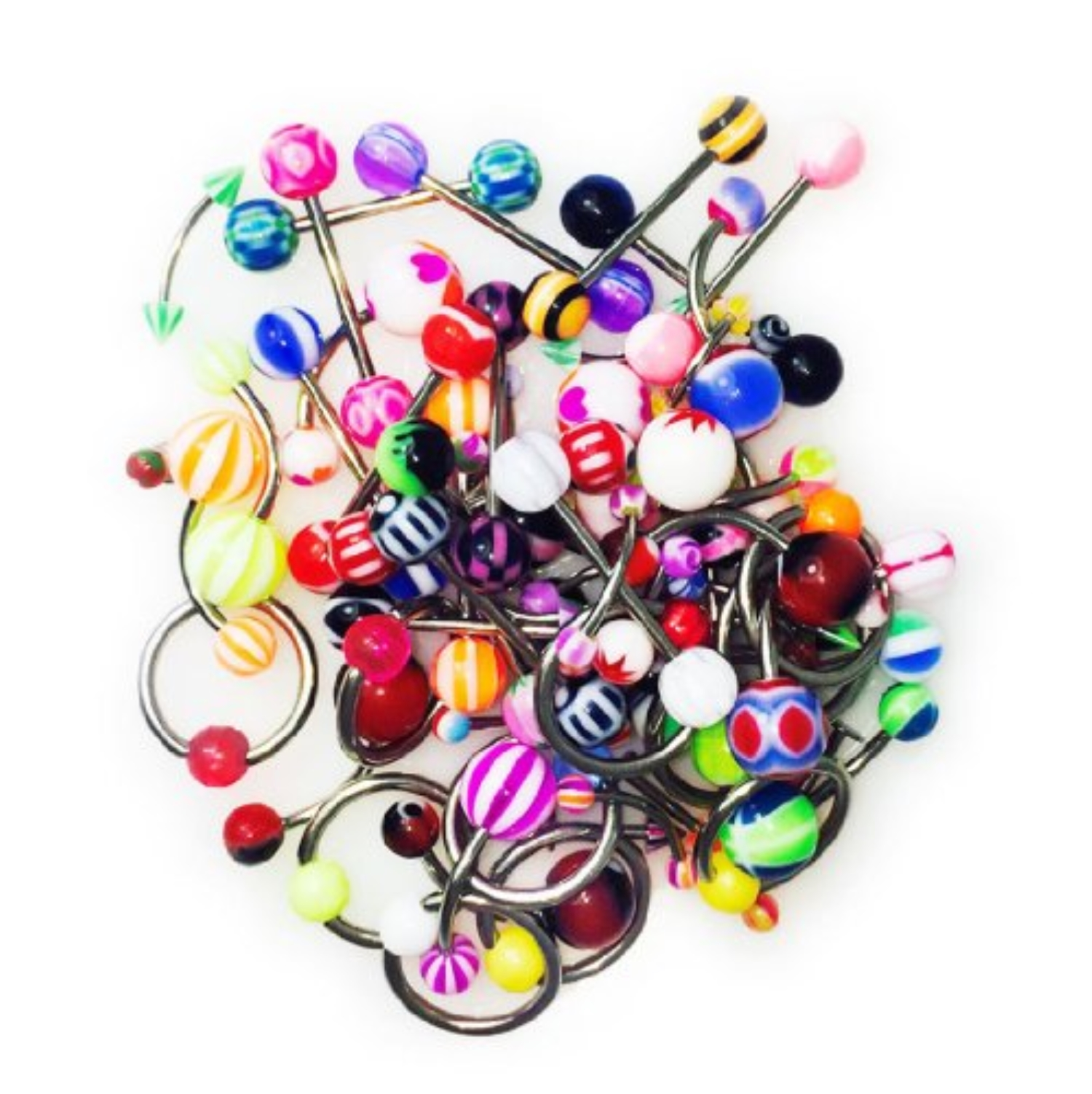 BodyJ4You® Piercing Kit 60 Pieces Mixed Lot Belly Ring Labret Tongue Curve Eyebrow Nipple Piercing