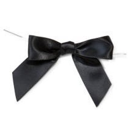 Black Satin Twist Tie Food & Party Favor Treat Bags Packaging Bows - Bow Tie Favors