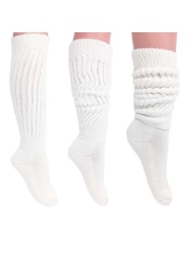 Women's Extra Long Heavy Slouch Cotton Socks Size 9 to 11 White 3 PAIRS