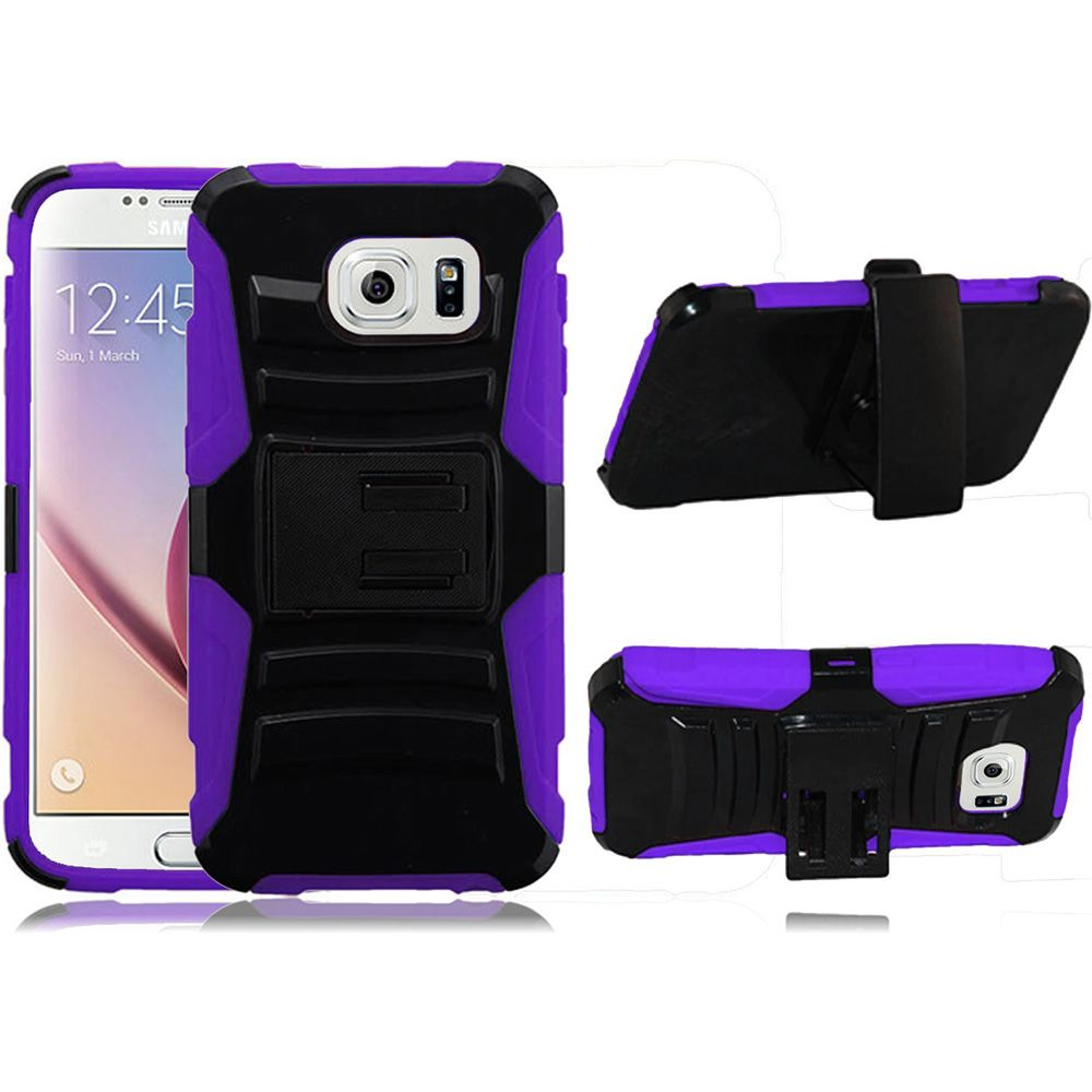 For Samsung S6 Case - Hybrid Phone Cover Side Kickstand With Holster Clip - Black+Purple